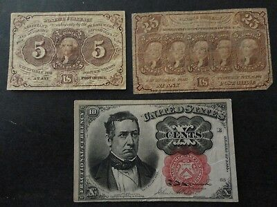 USA 1860's  FRACTIONAL STAMP CURRENCY BANKNOTES CIVIL WAR ERA