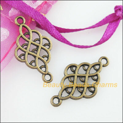 8 New Charms Chinese Knot Antiqued Bronze Tone Pendants Connectors 14x25.5mm