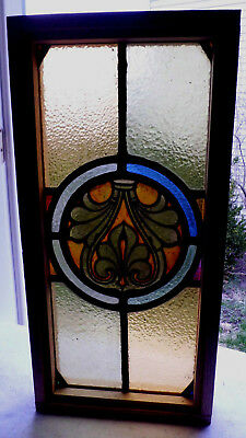 Antique Vtg Church Stained Glass Window Architectural Salvage Medallion W80