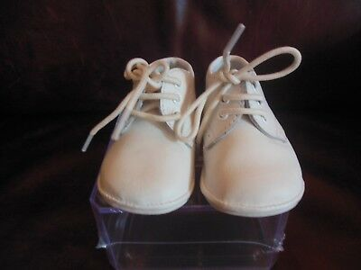 Angel Baby Boys Classic White Leather Oxford Shoes, Sz 1, Lace-Up