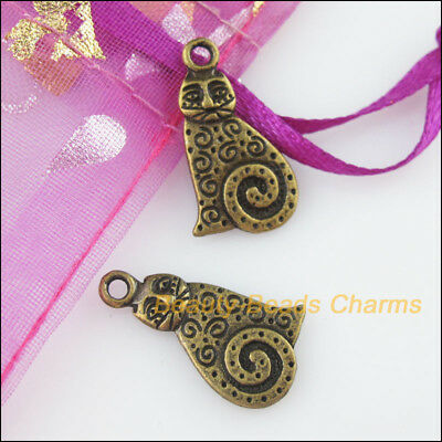 12 New Charms Animal Fat Cat Antiqued Bronze Tone Pendants 12x22mm