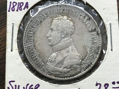 1818 A Germany Prussia Thaler Silver Coin Wilhelm III #ADP