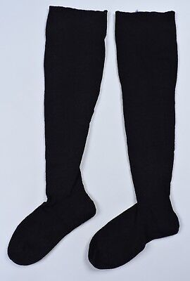 Antique 19Th C Hand Knit Black Stockings Socks 4 Dress
