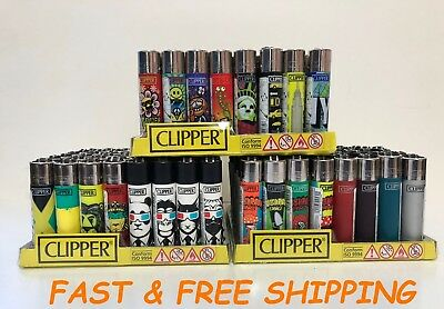 Full Size Refillable CLIPPER Cigarette Lighters Assorted color design -Not BIC