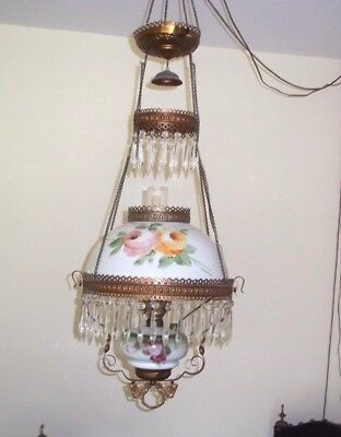 Victorian Antique Hanging Ceiling Light Elect Oil Lamp PENDANT Crystal Prisms