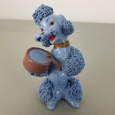 Vintage Mid Century Blue Spaghetti Poodle Dog Figure Playing Drum