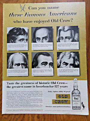 1962 Old Crow Whiskey Ad  Can You Name these Famous Americans?