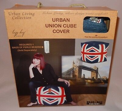 Urban Living ~ Union Jack ~ Bean Bag Ottoman Cube ~ Cover Only ~ Nos Sealed