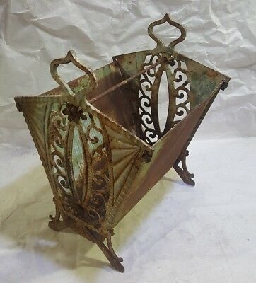 Vintage Cast Iron magazine rack with handle heavy metal ornate decor display