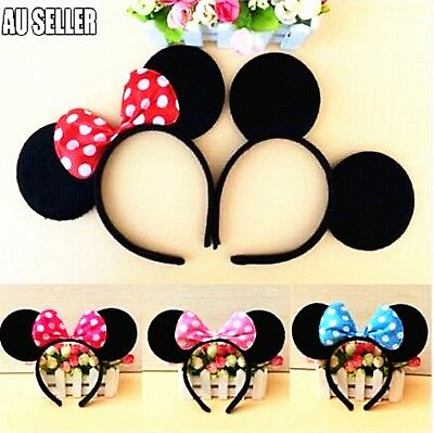 MICKEY MINNIE MOUSE EARS HEADBAND COSTUME Bow Fancy Dress Unisex Party 2018