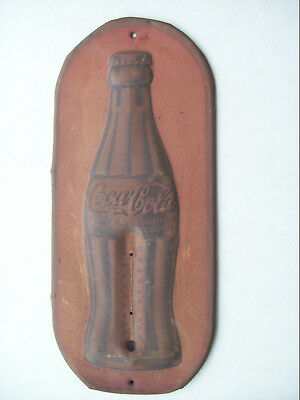 Vintage 1923 Metal Coca Cola Bottle Thermometer Sign