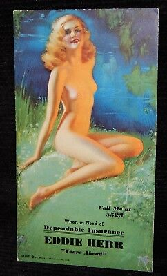 Rare 1935 Risque Nude Pin Up Girl Advert. Ink Blotter Eddie Herr Rolf Armstrong