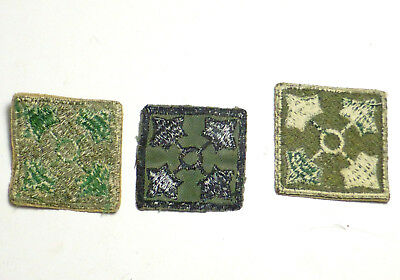 WWII US Army 4th Infantry Lot of 3 Patches Green and Black Leaves