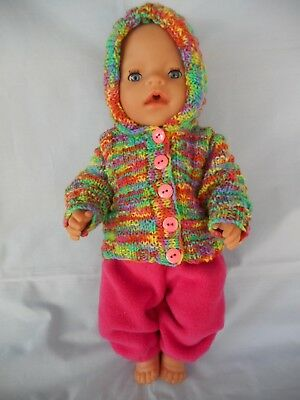 Handmade, hand knitted Dolls clothes (Winter set) suit 40-43cm Baby Born doll.
