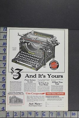1922 Underwood Standard Typewriter Keyboard Type Home Office  Ad Zl069