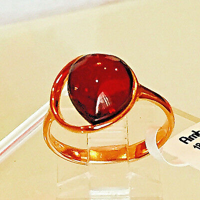 14k Gold Filled Genuine Russian Baltic Amber Ring 7.5 Butterscotch Polish Cherry