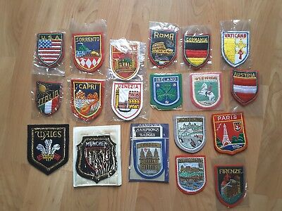 Vintage Lot of 20 Souvenir Travel Sew On Patches NOS, World