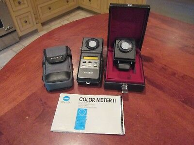 Minolta Color Meter II With Flash Color Receptor In Hard Case & Owners Manual