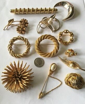 Mixed lot of Vintage & Modern Pins ~ Gold Tone ~mesh, Spike, Faux Pearl