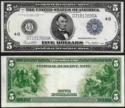 1914 $5 Federal Reserve Bank Note~ Cleveland ~ Crisp Almost Uncirculated~
