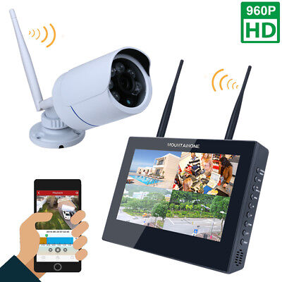 """10/"""" 4CH NVR Kit HD 960P Wireless DVR Video Security System 1.3MP Camera Monitor/&"""
