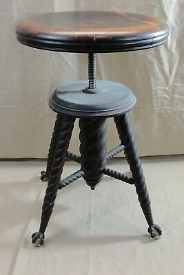 Antique The Chas Parker Adjustable Piano Organ Stool Glass Ball & Claw Feet