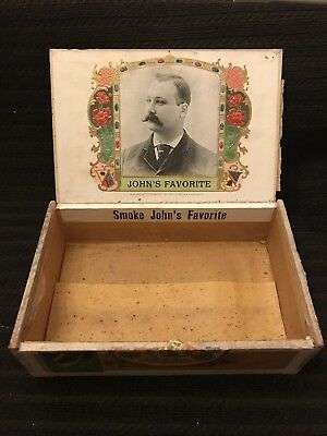 Vtg Johns Favorite Brand Wooden Cigar Box Canton Illinois