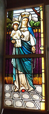 Lg Antique Vtg Church Stained Glass Window Architectural Salvage Virgin Mary WCA