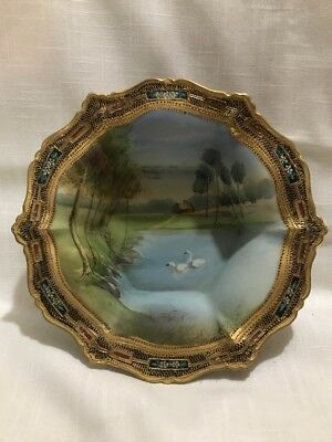 Antique Nippon Cabinet Bowl Hand Painted Swans Lake Scene Moriage Gold M Mark