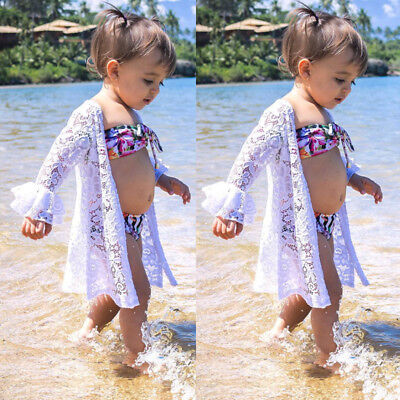 Lace Kid Baby Girls Cove Up Dress Flower Swimwear Off Shoulder Swimsuit Beach AU