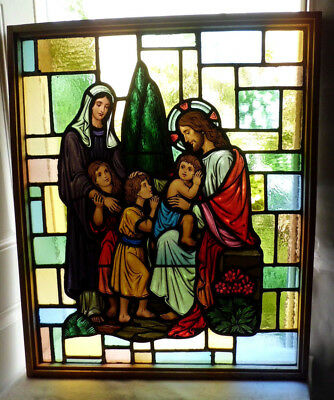 Antique Vtg Church Stained Glass Window Architectural Salvage Jesus w Children