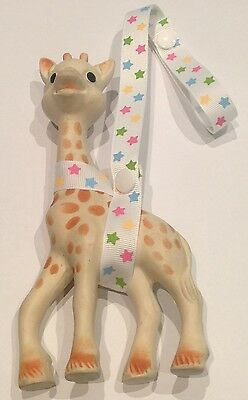 Toy Saver Strap for Sophie the giraffe & other toys/gifts.  Multi Coloured Stars