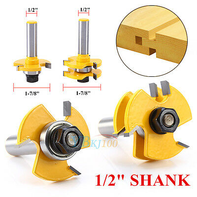 """2pcs Matched Tongue Groove Router Bit 1/2"""" Shank Woodworking Chisel Cutter WY"""