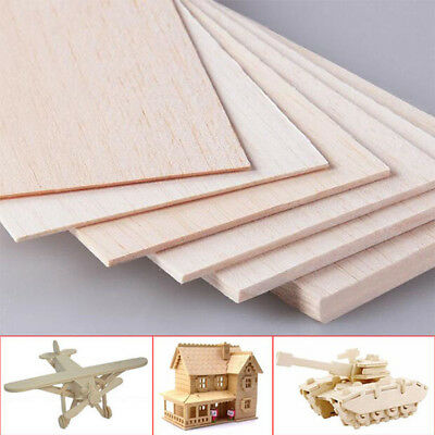 300x100mm Wooden Plate Model Balsa Wood Sheets DIY House Aircraft 1mm~8mm Thick