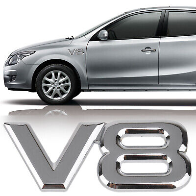 "1pcs  3D Metal ""V8"" Logo Car Emblem Badge Sticker Decal for Toyota VW BMW Silver"
