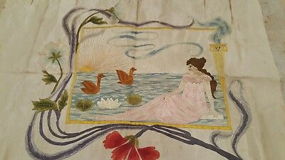 1880s one of a kind art nouveau lady by sea on silk charming