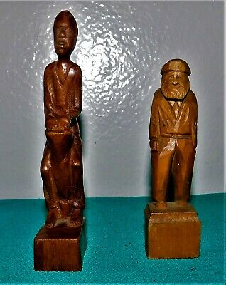 "Caron Sculpture C P 583 4"" Carved Wood Fisherman & African Man Drum Figurines"