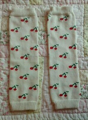 Babylegs leg warmers white with red cherries NWOT one size toddler infant