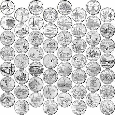 Usa Statehood Quarter Completed Set 56 Coins 50 State + 6 Us Territories Unc