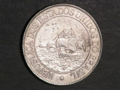 BRAZIL 1900 2000 Reis Ship/400th Yr. of Discovery Silver XF - Scarce Type