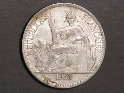 FRENCH INDO-CHINA 1921H 1 Piastre Silver Crown XF-AU