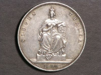 GERMANY-PRUSSIA 1871A 1 Thaler Victory of France Silver XF-AU