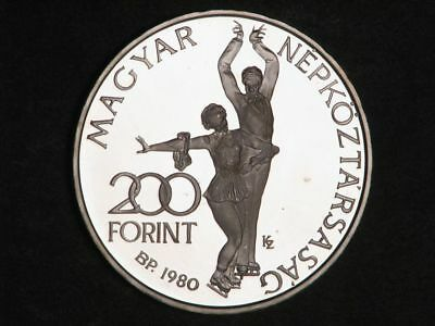 HUNGARY 1980 200 Forint Figure Skaters Silver Proof