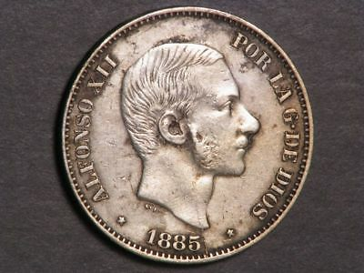 PHILIPPINES 1885 50 Centimos Silver VF-XF