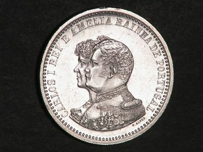 PORTUGAL 1898 500 Reis India Discovery Silver UNC