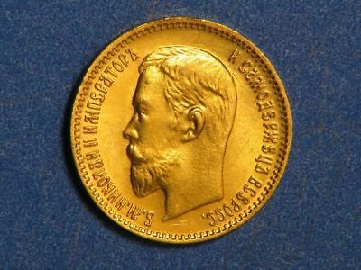 RUSSIA 1904 5 Roubles GOLD BU