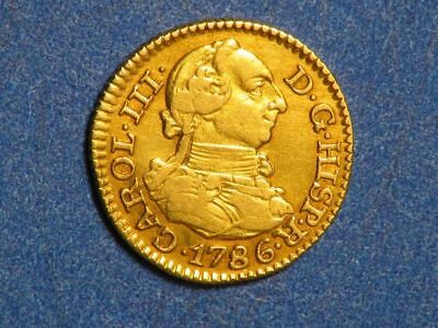 SPAIN 1786M-DV 1/2 Escudo GOLD XF