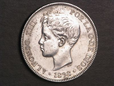 SPAIN 1898SG-V 5 Pesetas Silver Crown XF-AU
