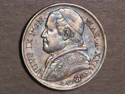 VATICAN-PAPAL STATES 1867R 2 Lire Silver VF-XF