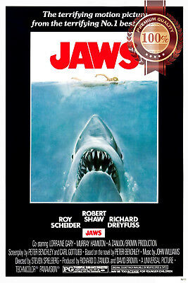 New Jaws 1 Official Original 1975 First Film Movie Cinema Print Premium Poster